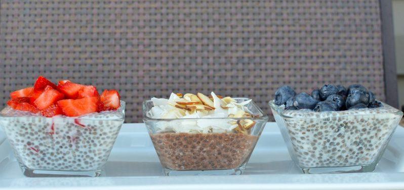 Chia puding: epres, csokis-mandulás, áfonyás